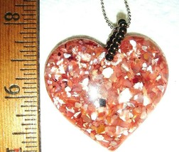 VTG STERLING SILVER EMBEDDED PINK LUCITE HEART NECKLACE DANGLE DROP EARR... - $187.99