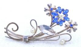 VTG .925 Sterling Silver Gold Wash Blue Rhinestone Faux Pearl Flower Pin... - $39.60