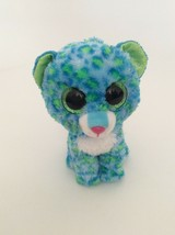 """Ty B EAN Ie Baby Boo Collection Blue Green White Leona The Leopard 6"""" Small Plush - $5.89"""