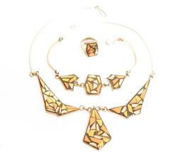 Vintage 1980's Geometric Necklace Bracelet Ring Parure Set*Inlaid Metals... - $54.45