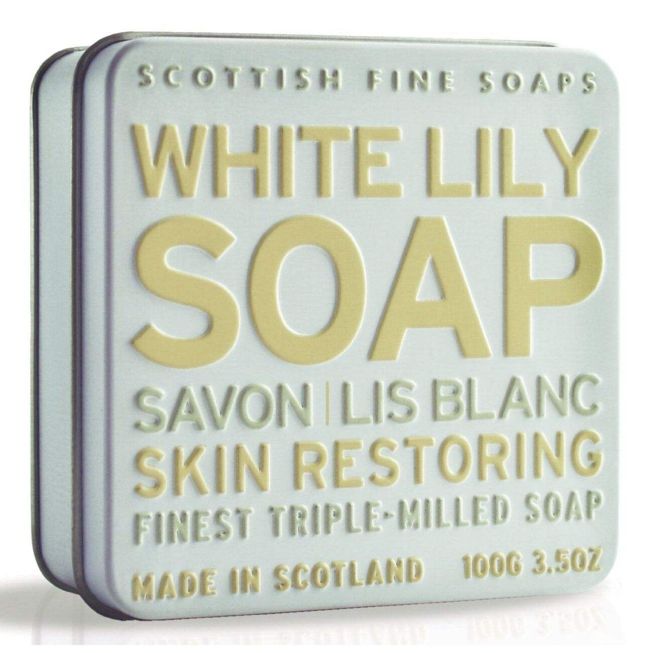 Scottish Fine Soaps Restoring White Lily Soap in a Tin 100g 3.5oz image 1