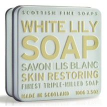 Scottish Fine Soaps Restoring White Lily Soap in a Tin 100g 3.5oz - $11.50