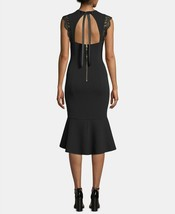 Betsy & Adam Keyhole Lace-Flounce Midi Dress Black Size 6 $249 image 2