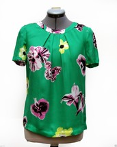 J Crew Swoop emerald pool Green Punk Retro Floral print blouse silky 0 2... - $49.99