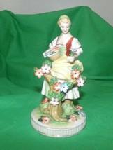 Vintage girl with flowers Capodimonte figurine Japan - $39.59