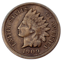 1909-S Indian Cent VF Condition, Brown Color, Liberty is Bold & Clear - $458.86