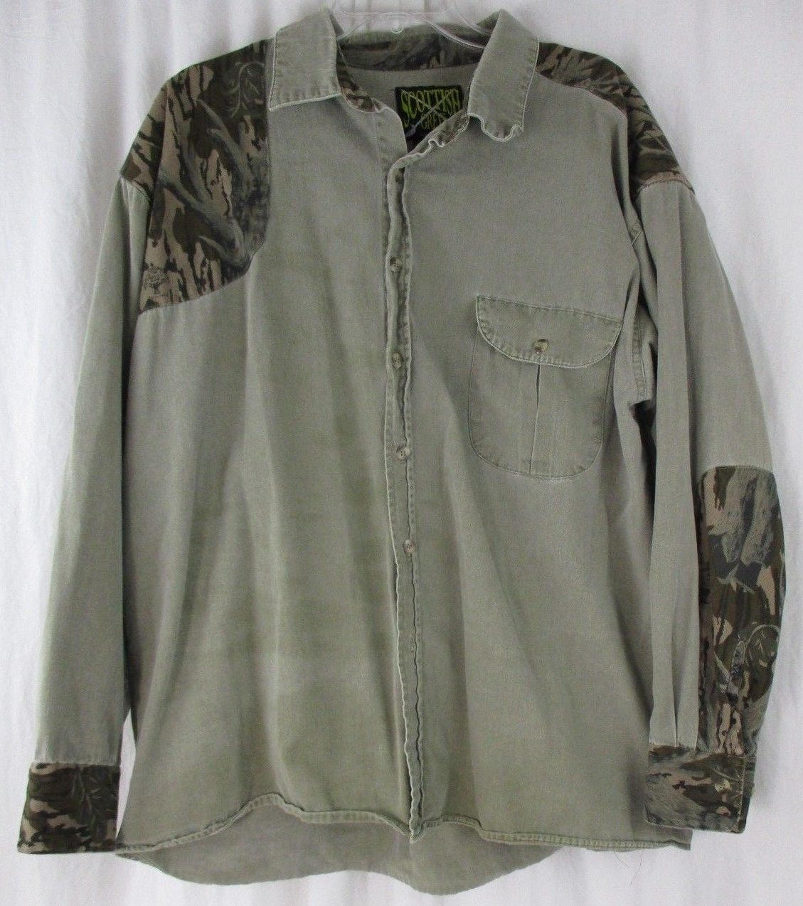 Primary image for Scottish Greys Mens Long Sleeve Button Front Shooting Shirt Camo Green Sz XL