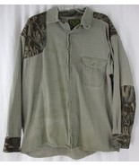 Scottish Greys Mens Long Sleeve Button Front Shooting Shirt Camo Green S... - $18.80