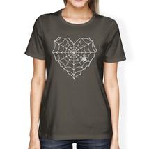 Heart Spider Web Womens Dark Grey Shirt - $14.99+