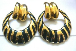 Fashion Gold Tone Black Enamel Wild Pattern Chunky dangle ring clip earr... - $20.79