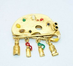Danecraft Artist Paint Palette Enamel Dangle Pin Brooch Gold Tone Vintage - $19.79