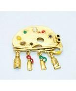Danecraft Artist Paint Palette Enamel Dangle Pin Brooch Gold Tone Vintage - $19.79