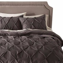 Threshold Gray Pintuck Puckering Pinch Pleat Full Queen Duvet 2 SHams se... - $59.99
