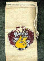 On The Rocks Guitar Cloth Wine Spirits Tote Bag Party Favor, Rock N Roll - $7.99