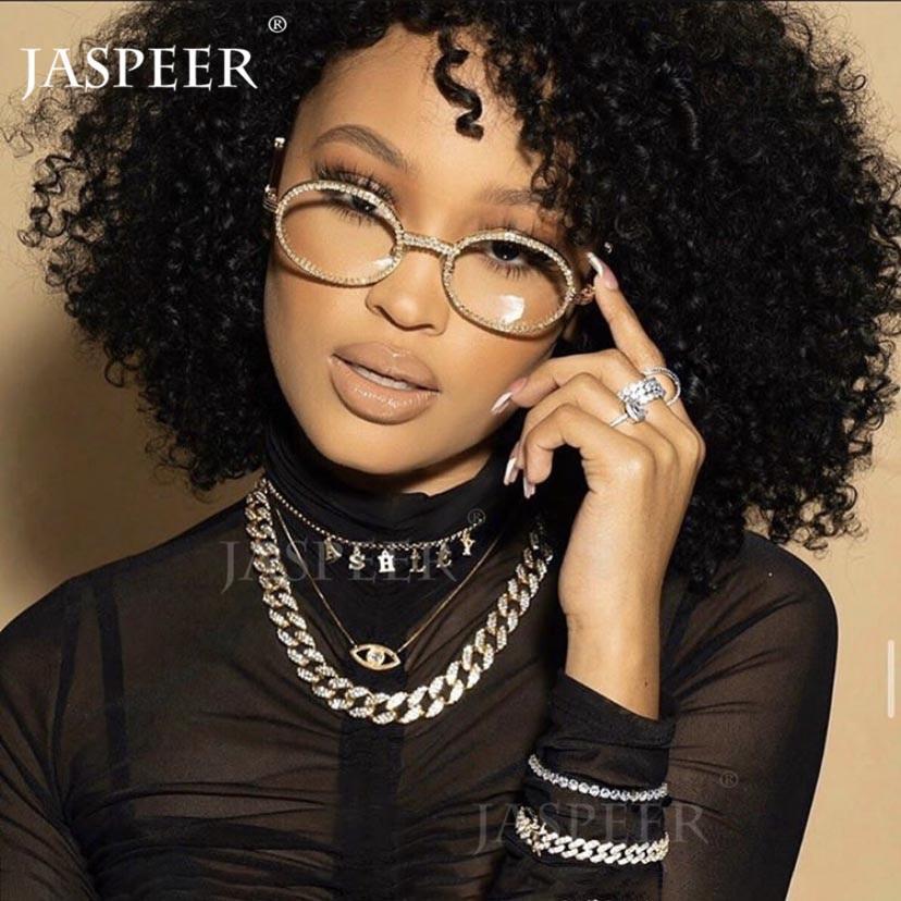 E sunglasses men women luxury brand designer plastic frame crystal mirror diamond goggle eyewear