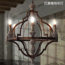 Viintage Barcelona Wood Iron Chandelier E14 Light Ceiling Lamp Pendant L... - £600.76 GBP