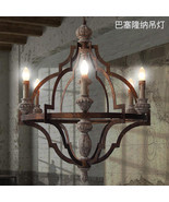 Viintage Barcelona Wood Iron Chandelier E14 Light Ceiling Lamp Pendant L... - €713,32 EUR