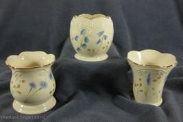 Classic Lenox Set of 3 Floral Votive Candle Holders Fine China 24kt Trim  - $24.99