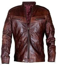 Cafe Racer Vintage Motorcycle Distressed Brown Biker Quilted Leather Jacket image 1