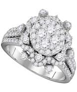 14kt White Gold Round Diamond Cluster Bridal Wedding Engagement Ring 1-5... - £1,855.54 GBP