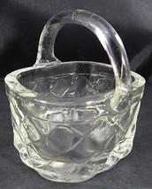 "Vintage Miniature Clear Thick ART GLASS Basket Trinket Jewelry Dish 2""1/... - $13.00"