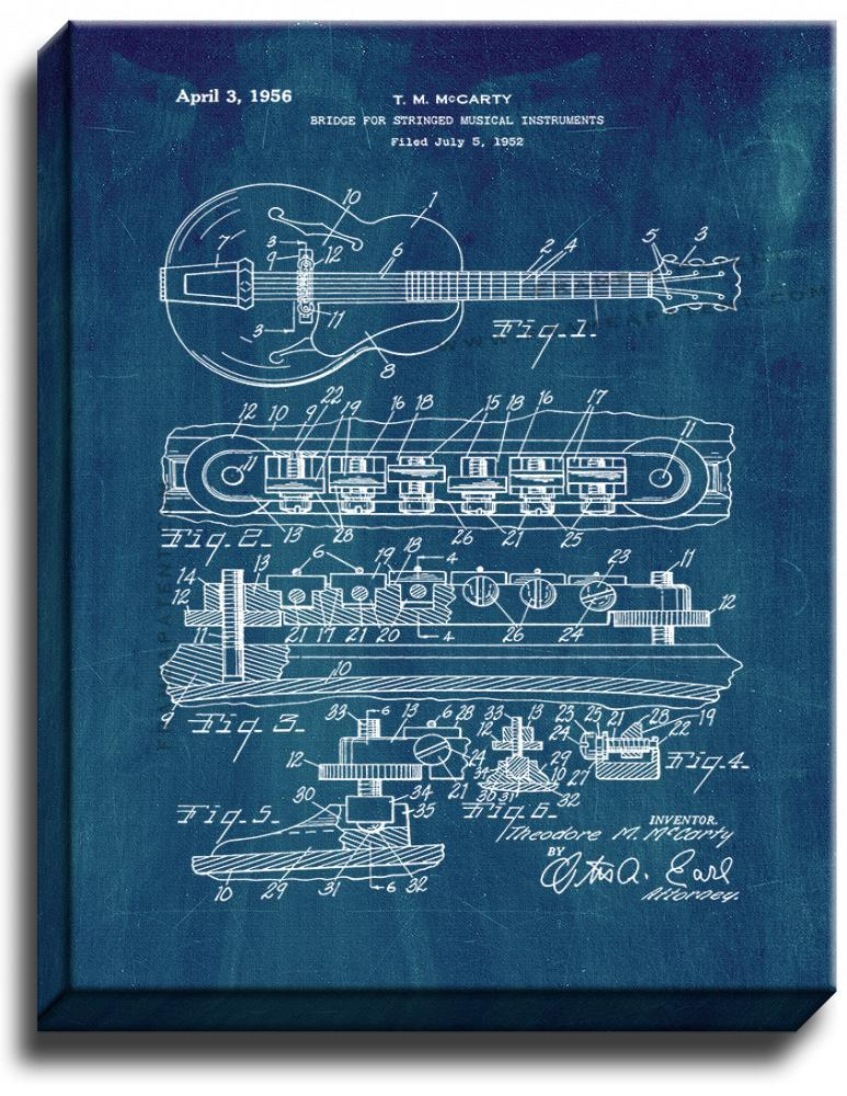 Primary image for Bridge for Stringed Musical Instruments Patent Print Midnight Blue on Canvas