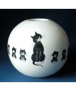 """Cats In A Row"" Kittens Artist Albert Dubout Ceramic Sphere Round Bud Vase - $31.04"