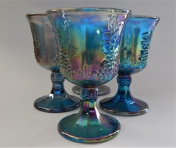 4 Indiana Glass Harvest Grape Carnival Wine Glass Footed Goblet Iridesce... - $49.49