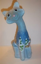 Fenton Glass CANDYLAND GINGERBREAD MAN Blue ALLEY CAT Ltd Ed GSE Kim Barley - $319.62