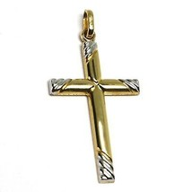 18K YELLOW WHITE GOLD CROSS PENDANT 30mm, 1.18 inches, ROUNDED WORKED STRIPED image 1