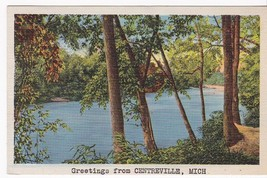 Greetings From Centerville Michigan Vintage Postcard 1940 - $2.64