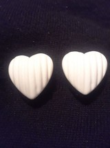 Vintage Off WHite  Lucite Heart Clip On Earrings - $3.00