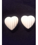 Vintage Off WHite  Lucite Heart Clip On Earrings - $3.00
