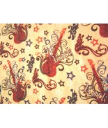 Rock Guitar Browns Flannel Print Fabric  New - $15.99