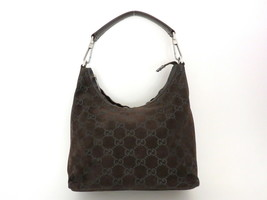Authentic GUCCI Dark Brown Original GG Suede Leather Shoulder Bag Purse - $134.75