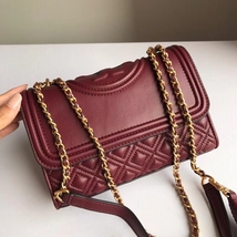 Authentic Tory Burch Fleming Convertible Leather Shoulder Bag Small Wine... - $319.00