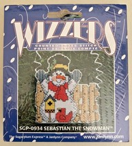 Janlynn Wizzers Counted Cross Stitch Ornament Snowman NOEL SGP-1352 - $9.89