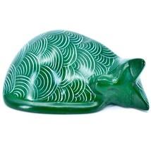 Tabaka Chigware Hand Carved Kisii Soapstone Green Sleeping Cat Figure image 1