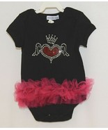 Doomagic Black One Piece Pink Tutu Red Heart Wings Crown Size 9 to 12 Mo... - $20.00