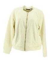 H Halston Lightweight Textured Knit Bomber Jacket Lemon Ice 14 NEW A288619 - $25.63