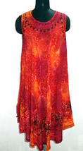 Women's Umbrella Dress, Glittering Stars Tie Dye Design, Embroidered Midi, Red - $15.88
