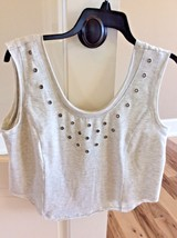 New Hole Studded Crop Top B Original Boutique Heather Gray Women M Short... - $19.99
