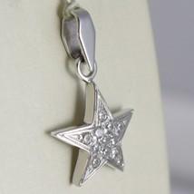 White Gold Pendant 750 18K, Pendant Star, with Zircon, Long 2.4 CM image 2