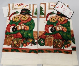 "Set Of 2 Printed Kitchen Towels (15""x25"") Winter, 2 Christmas Teddy Bears,Broder - $9.89"