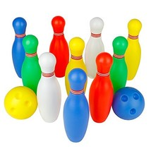 Bowling Pins Ball Toys Small Plastics Bowling Set Fun Indoor Game with 1... - $19.59