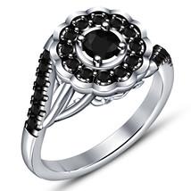 Women's Engagement Ring Round Cut Black Diamond 10k White Gold Plated 92... - $76.99