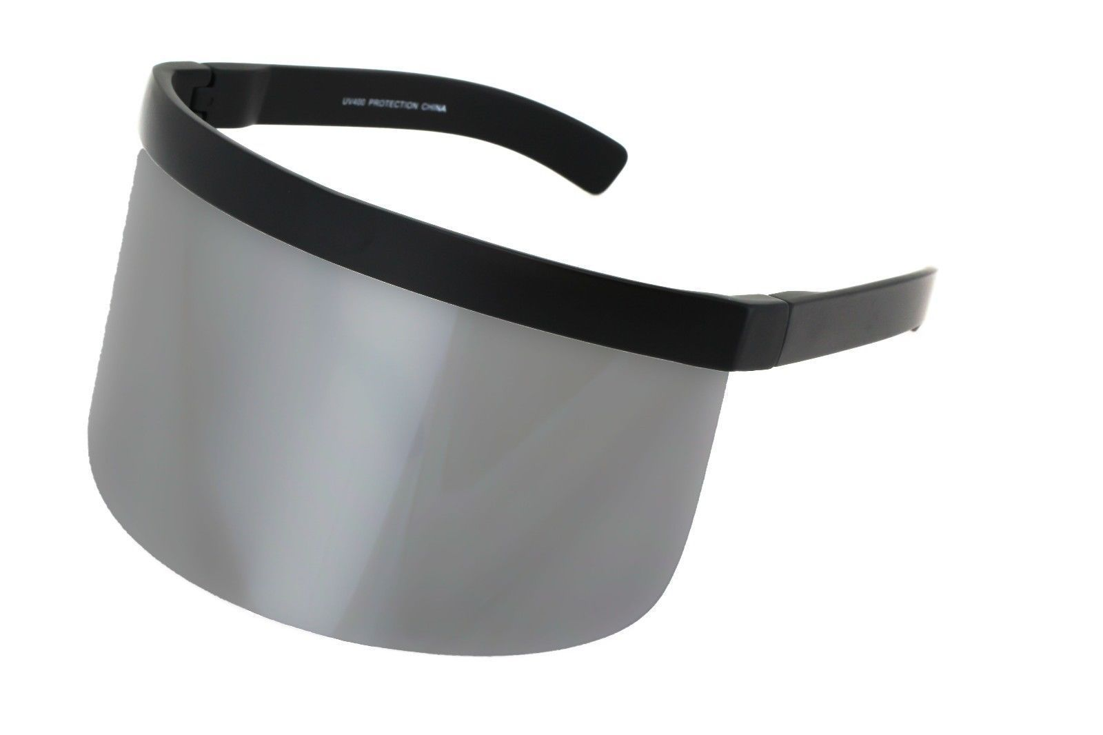 Oversized WRAP SHIELD Visor DAISUKE Sunglasses Flat Top Silver Mirror Mono Lens