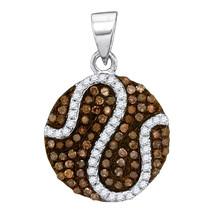 10k White Gold Round Brown Diamond Circle Cluster Fashion Pendant 3/8 - $251.00