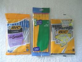 "3 Packs "" NIP "" Pens & Pencils,1,Bic Blue(10)1,Bic Black (10),1,Pencil #... - ₹662.87 INR"