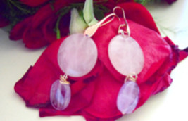 Pink quartz and amethyst rose gold plated earring hook - $45.00